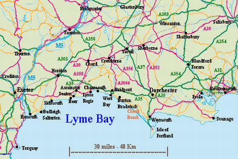 Map Of Uk Dorset.Lyme Bay Devon And Dorset Location And How To Get Here