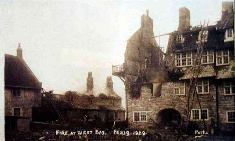 Dorset Photo Heritage West Bay Fire At Pier Terrace 1929